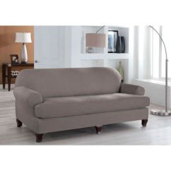 Two Cushion Sofa Slipcover Longest Lasting Perfect Fit Stretch Grey Piece T
