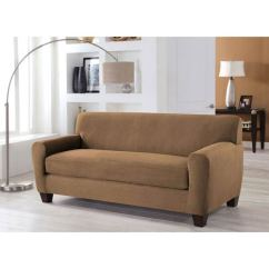 Two Cushion Sofa Slipcover Pier 1 Nyle Reviews Perfect Fit Stretch Camel Piece Box