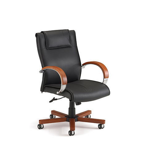 wood and leather executive office chairs osaki massage chair review ofm furniture black mid back