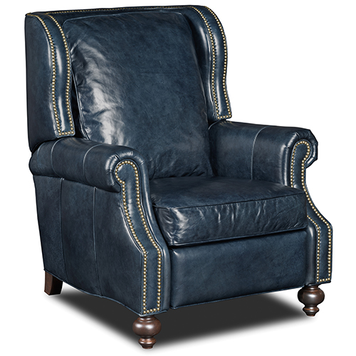 reclining club chair face down chairs recliners bellacor drake blue leather recliner