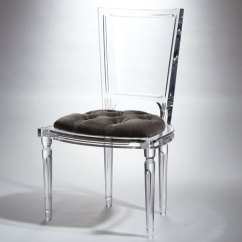 Acrylic Side Chair With Cushion Cottage Dining Chairs Global Views Marilyn Pewter 3 31173 Bellacor