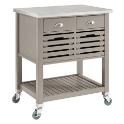 Kitchen Cart With Drawers Small Counter Lamps Brighton Hill Robbin Gray 464810gry01u Bellacor