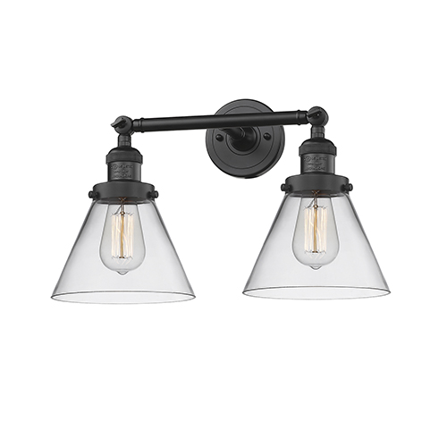 innovations lighting large cone black 18 inch two light bath vanity with clear cone glass