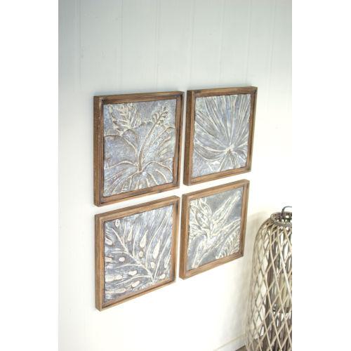 kalalou multi colored framed tropical pressed metal tile wall art set of 4 cvy1004 bellacor
