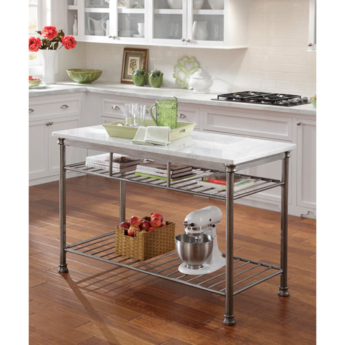 kitchen island carts tablecloths islands bellacor the orleans palm mahogany w white quartz marble top
