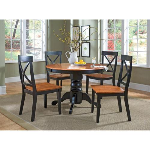 oak kitchen table sets inexpensive flooring round set bellacor home styles furniture black five piece pedestal dining