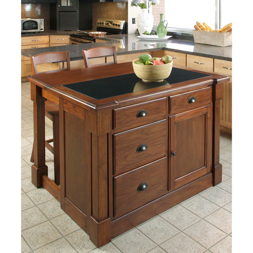 kitchen islan 2 tier island home styles furniture aspen rustic cherry granite top w hidden drop leaf support