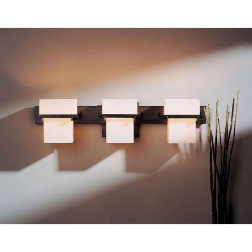 hubbardton forge kakomi dark smoke three light wall sconce with opal glass 207833 1006 bellacor
