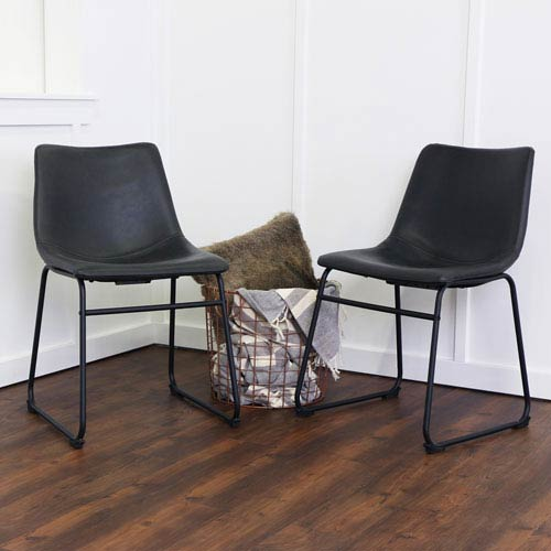leather dining chairs modern zebra chair covers black bellacor walker edison furniture co faux set of 2