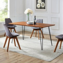 60 Inch Kitchen Table Drop Leaf Tables For Small Spaces Walker Edison Furniture Co Hairpin Leg Dining Walnut Bellacor Item 2043140 Image