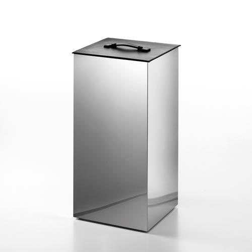 Ws Bath Collections Complements Stainless Steel Small Laundry Basket With Black Leather Lid Secioni 53432 60 Bellacor