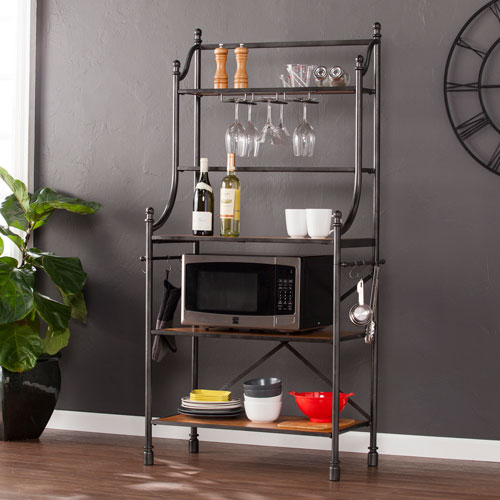 kitchen bakers rack table and chairs set bellacor southern enterprises colebrook black with honey pine