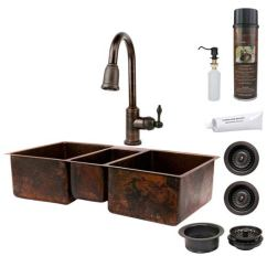 42 Inch Kitchen Sink Counter Materials Premier Copper Products Hammered Triple Bowl With Pull Down Faucet