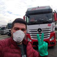 A Romanian TIR driver transports medical supplies during the pandemic in Europe: