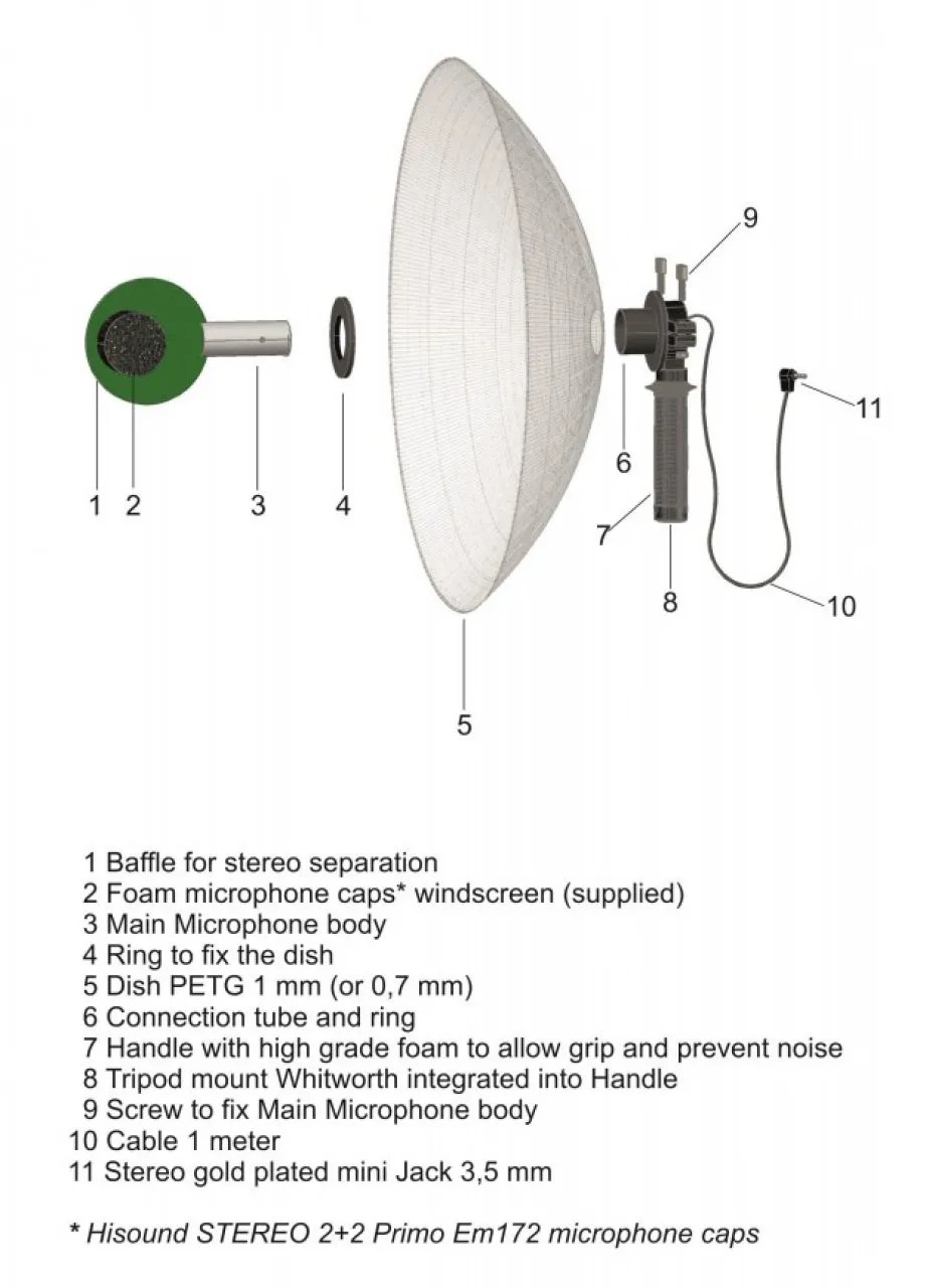 hight resolution of hi sound stereo parabolic microphone hi sound stereo parabolic microphone