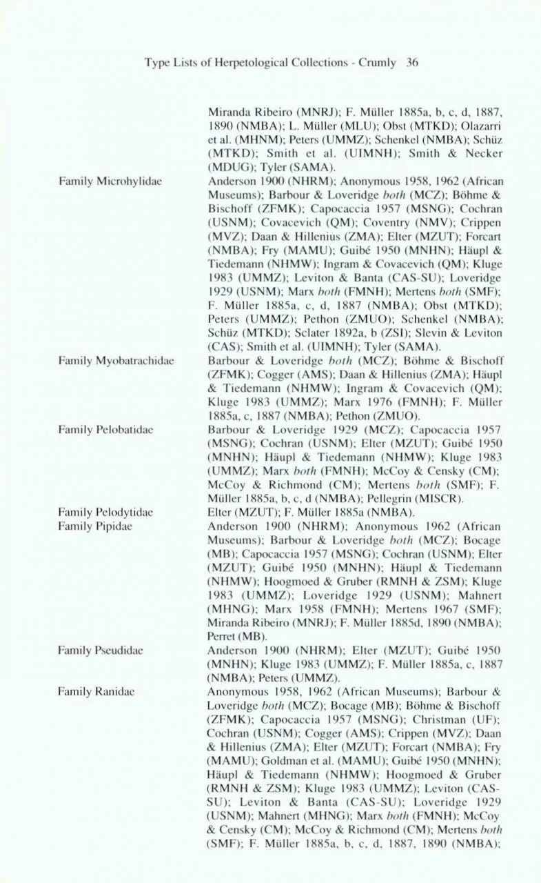 Type Catalogues of Herpetological Collections: An