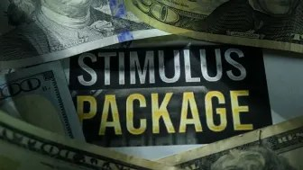 "picture of sign saying ""stimulus package"" surrounded by cash"