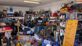 A cluttered residential garage