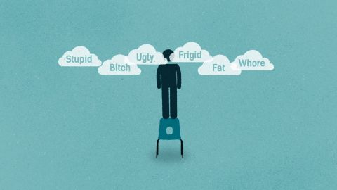 Character hovering over a chair with head in clouds surrounded by the words Stupid, Bitch, Ugly, Frigid, Fat, Whore