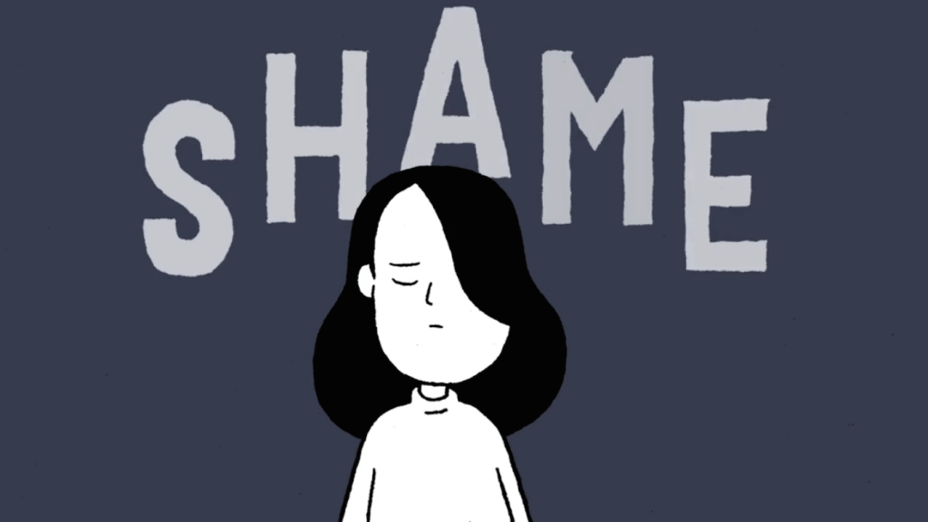 Shot from animation showing girl with the word shame