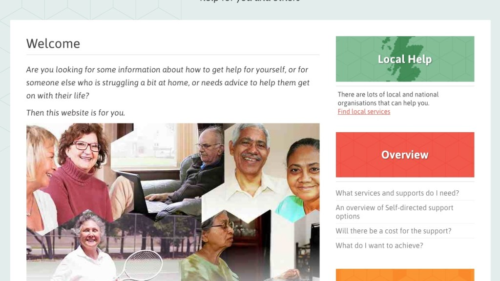 Screenshot of website welcome page showing local help available, an overview and jargon buster
