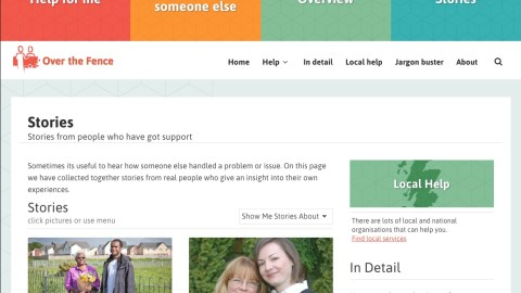 Screenshot of web page showing stories from people who have had support