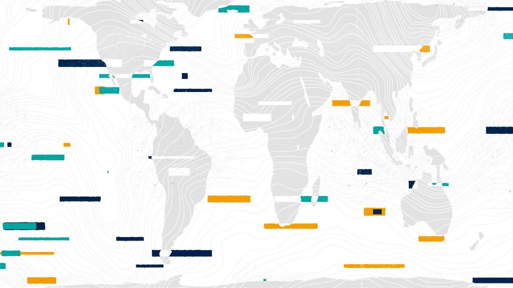 World map with colourful lines