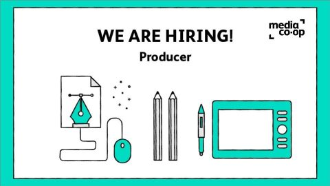"""Illustration of office work tools with the words """"We are hiring! Producer"""""""