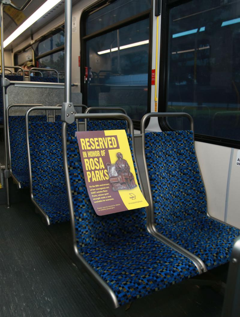 Today, Dallas Area Rapid Transit is honoring Rosa Parks by reserving the front seat of more than 500 DART buses.