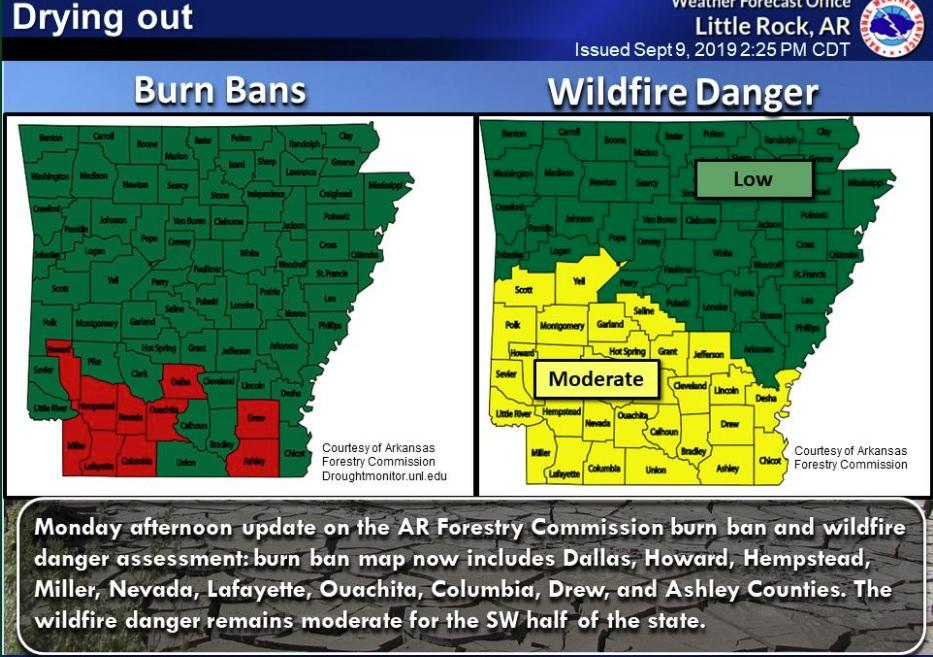 It is used when the fire hazard is extreme and/or when fire fighting resources are stretched to capacity. Lack Of Rain Increases Wildfire Danger In Arkansas Kuar