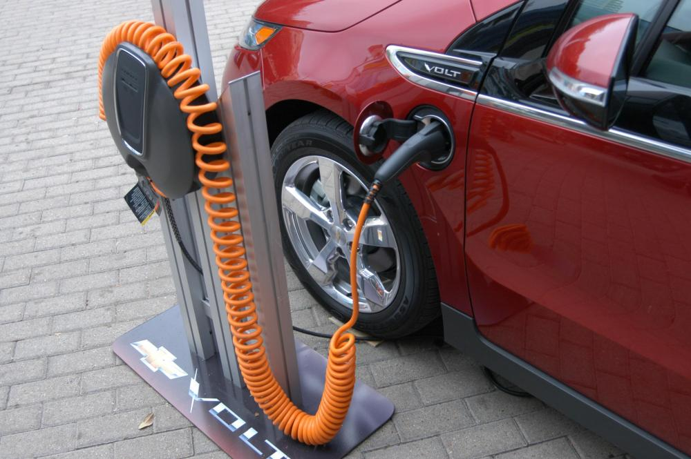 medium resolution of a chevy volt charging station on display outside the austin convention center during sxsw 2011