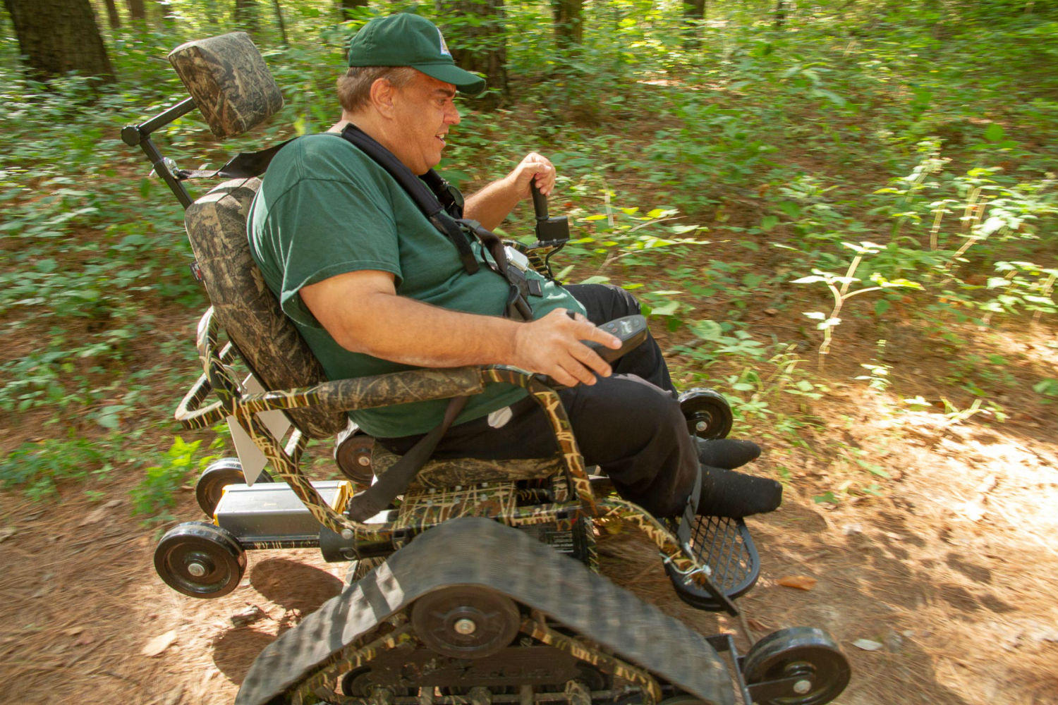 action track chair hanging nest outdoor the outdoors become accessible to missourians with disabilities st ray schultz a missouri department of conservation volunteer rides an