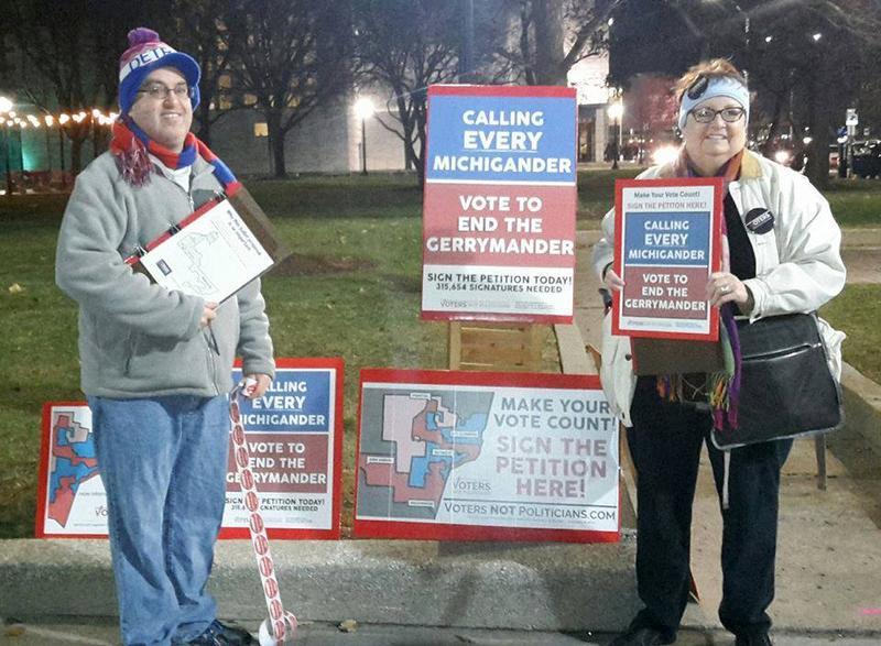 Voters Not Politician volunteers collecting signatures