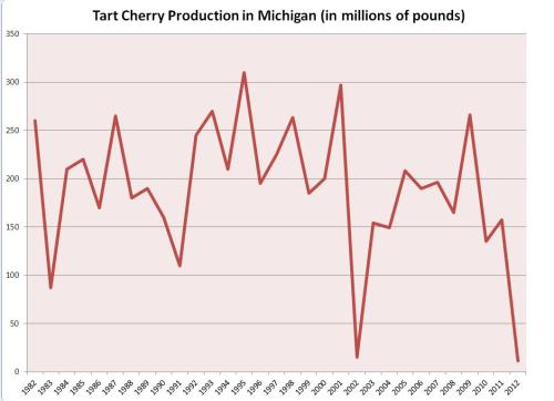 small resolution of tart cherry production in michigan in 2012 was lower than the previous low record set in 2002 statistics from the usda