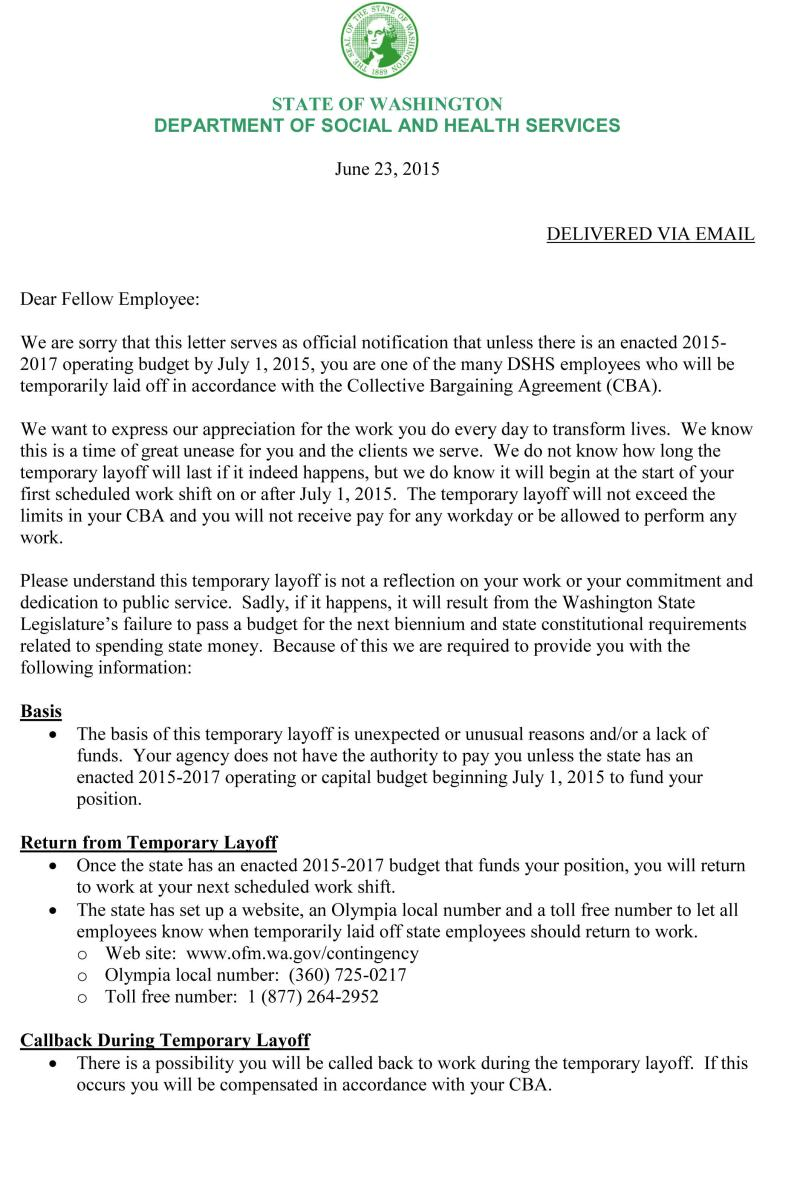 temporary layoff letter template