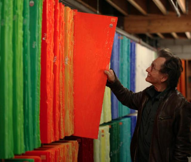 Bullseye Glass Co Founder Dan Schwoerer Pulls Out One Of The Orange Glass Sheets His Company Makes Using Cadmium