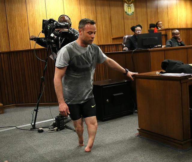 Oscar Pistorius Walks Without His Prosthetic Legs Wednesday During His Resentencing Hearing At The Pretoria High Court For The  Murder Of His Girlfriend