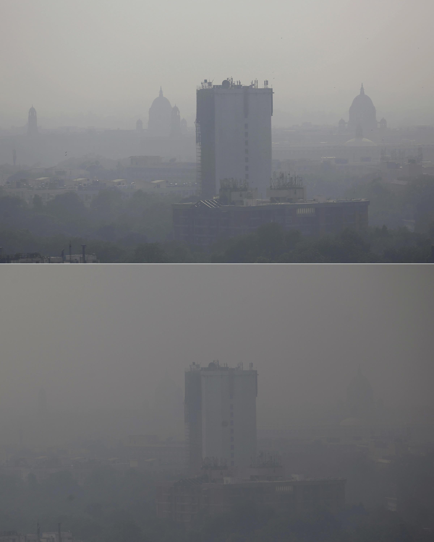 Photos After Diwali Fireworks Smog Shrouds New Delhi