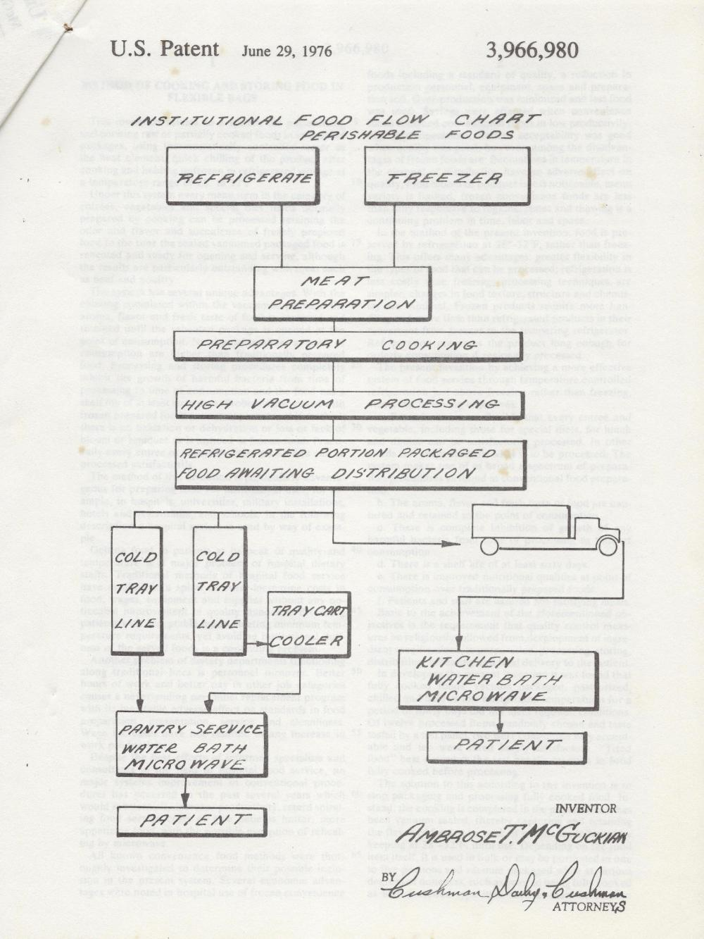 medium resolution of ambrose mcguckian created a flowchart to illustrate the sequence of hospital food service from storage to preparation to patient for his patent