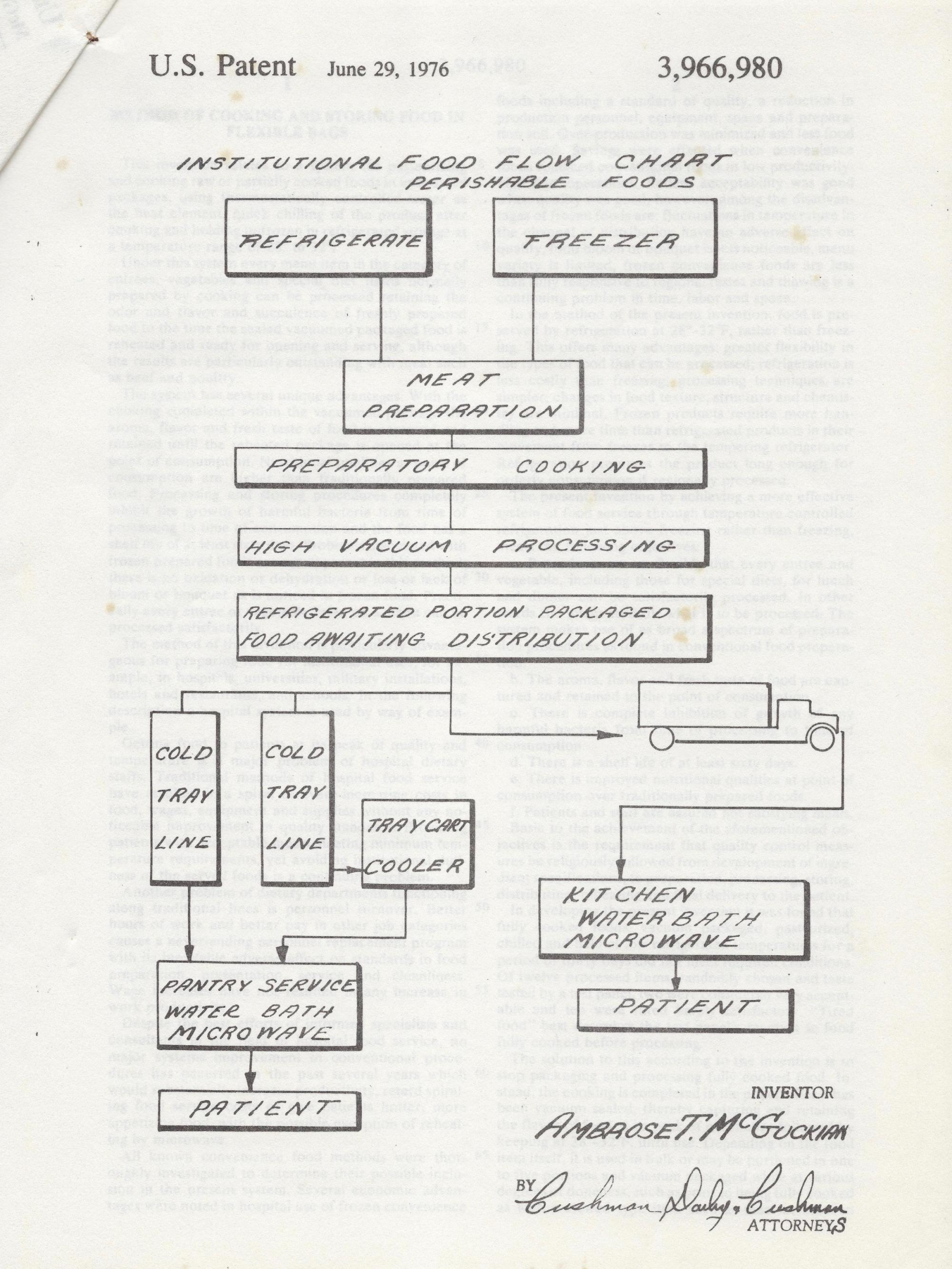 hight resolution of ambrose mcguckian created a flowchart to illustrate the sequence of hospital food service from storage to preparation to patient for his patent
