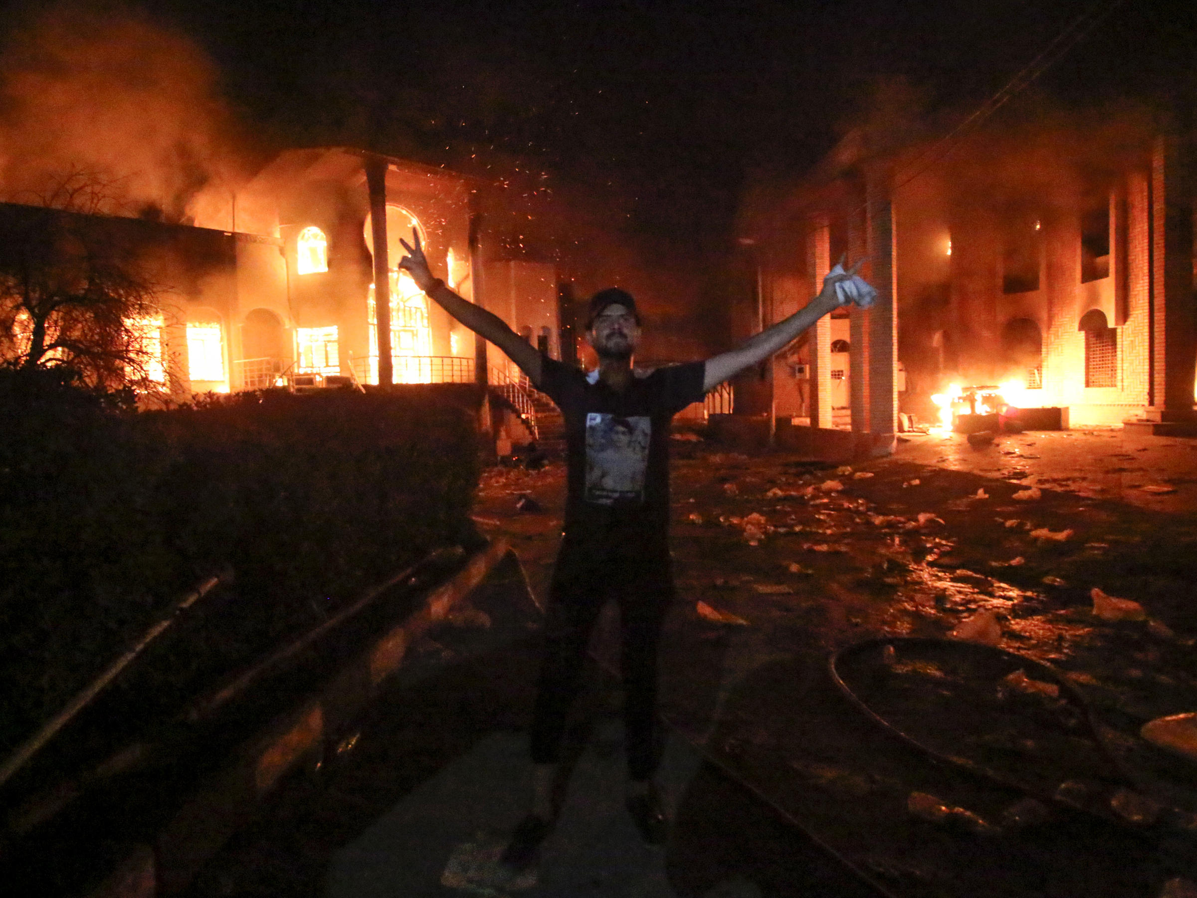 Image result for Iranian consulate torched, basra, photos