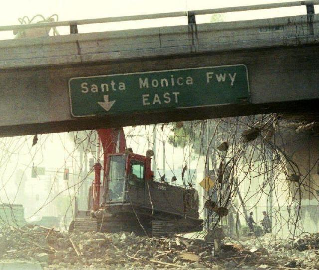 A Bulldozer Begins To Tear Down A Section Of The Santa Monica Freeway That Collapsed During