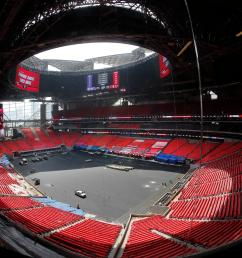 the field is shown during a tour tuesday of atlanta s mercedes benz stadium while the stadium is scheduled to open in august the retractable roof will be  [ 2400 x 1591 Pixel ]