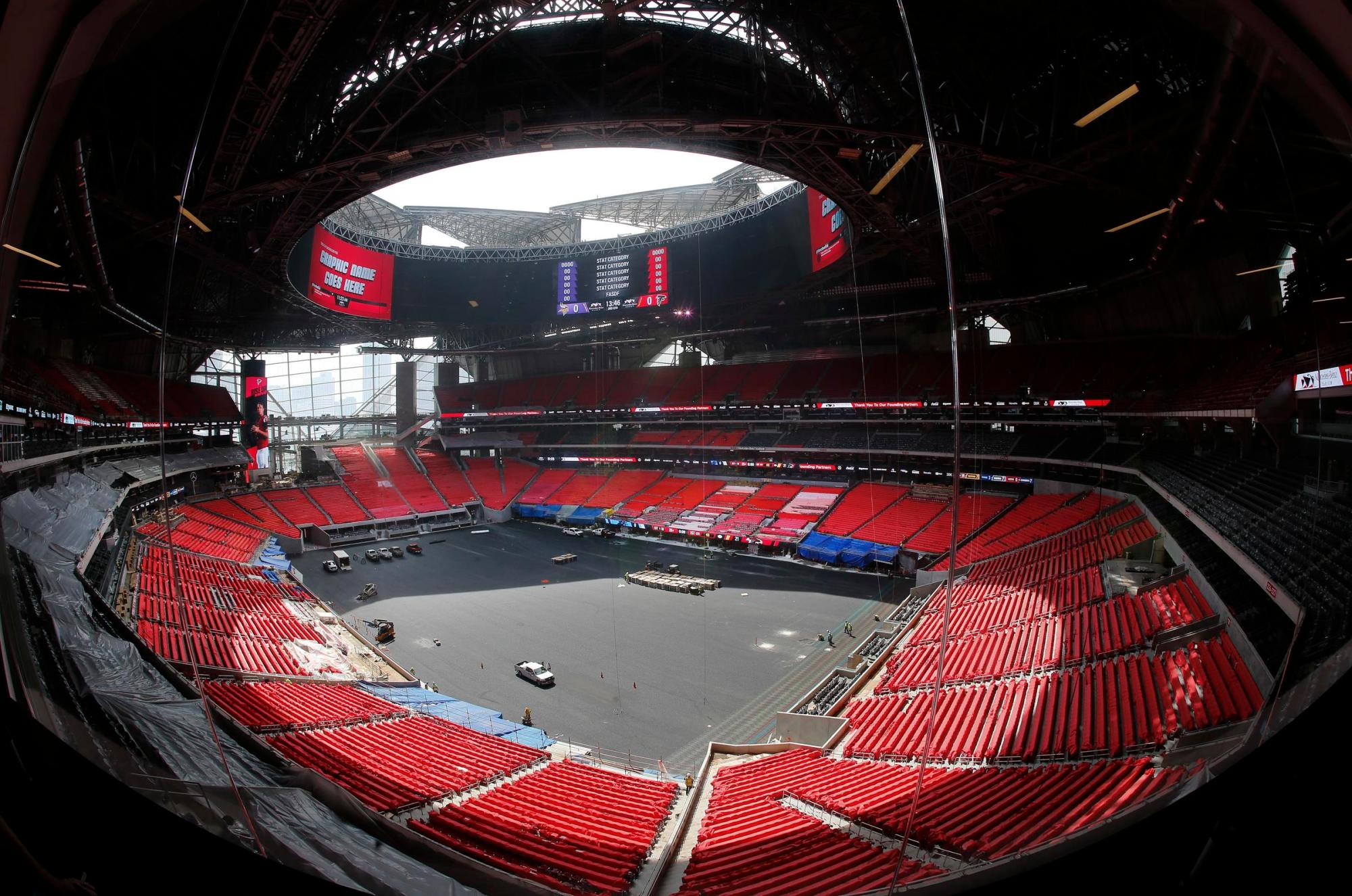 hight resolution of the field is shown during a tour tuesday of atlanta s mercedes benz stadium while the stadium is scheduled to open in august the retractable roof will be