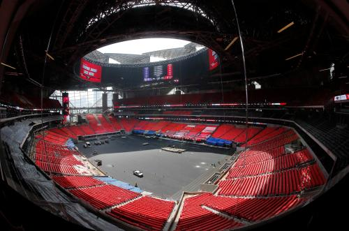 small resolution of the field is shown during a tour tuesday of atlanta s mercedes benz stadium while the stadium is scheduled to open in august the retractable roof will be