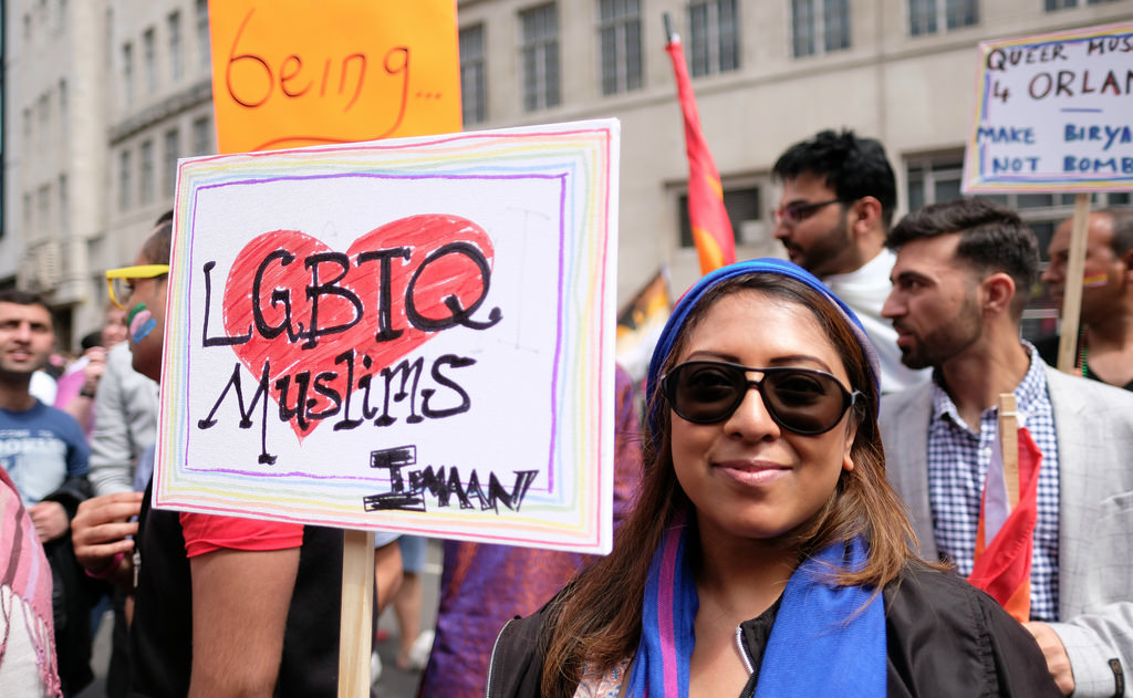 Manifestante musulmana el pasado 1 de agosto en Orlando. Photo by WMFE