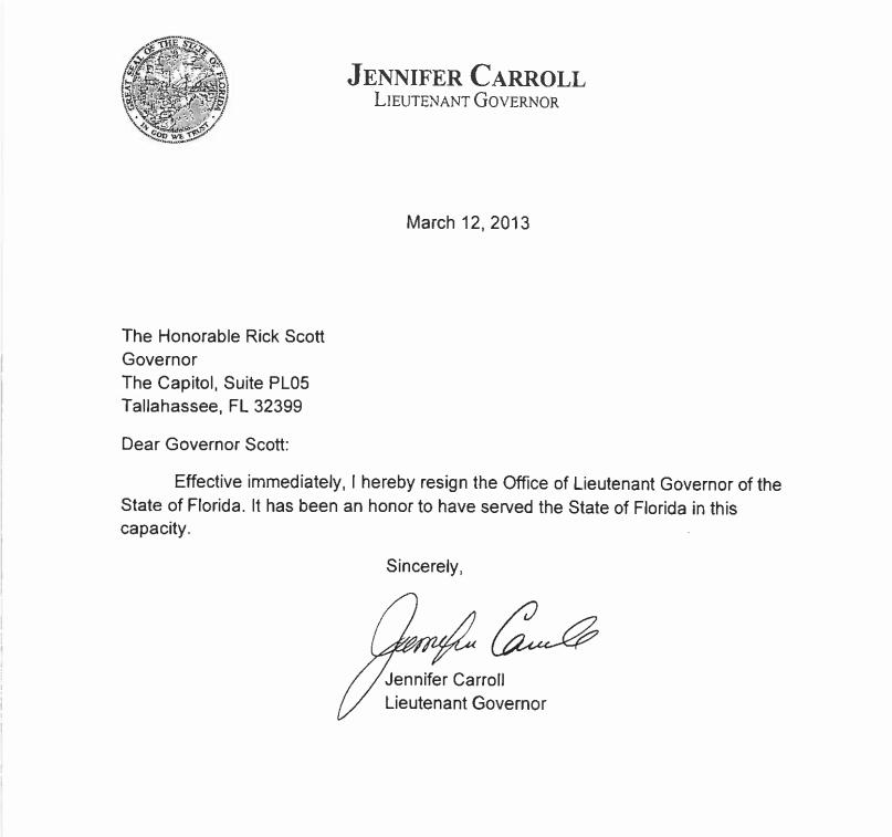 Lt Gov Jennifer Carroll Resigns WJCT NEWS
