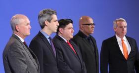 Bob Daiber, state Sen. Daniel Biss, J.B. Pritzker, Tio Hardiman, and Chris Kennedy