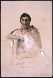 Te Kumete, a Maori anti-colonial fighter and political prisoner (Sketch: John Skinner Prout)