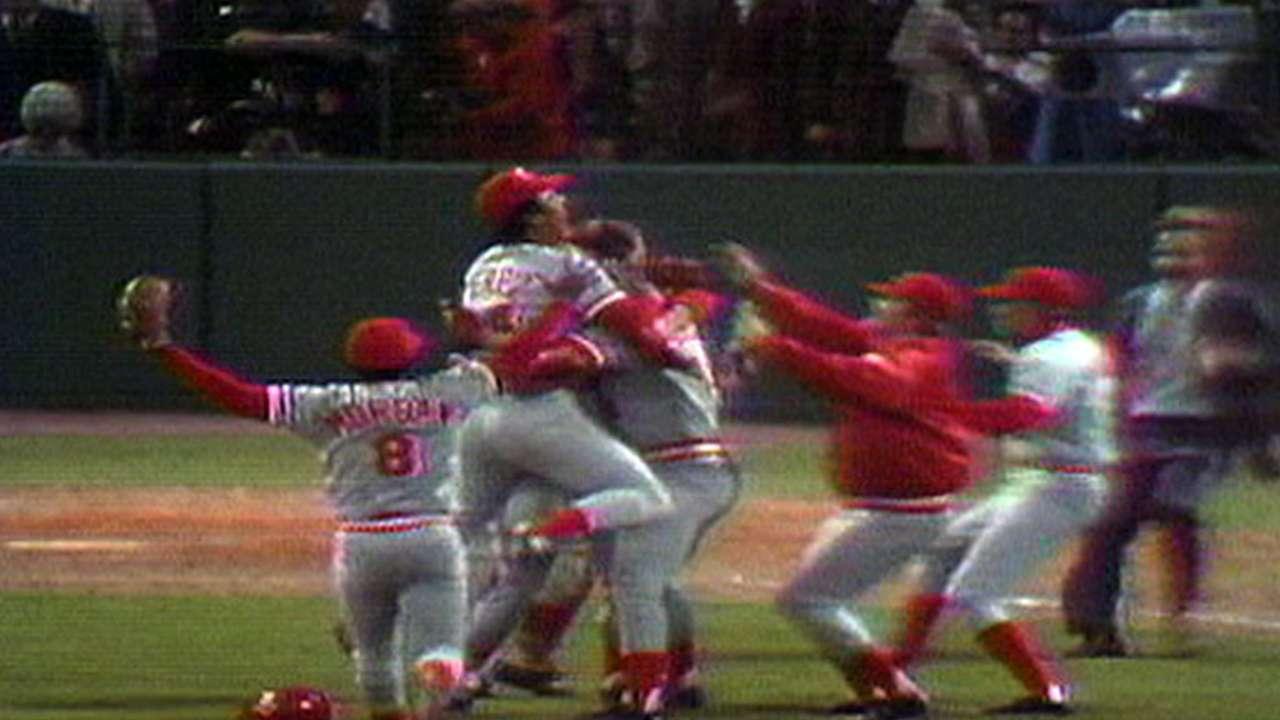 Reds win 1975 World Series